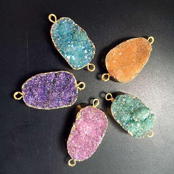 5 colors on SALE, Geode Druzy Pendant Connector, Druzzy Drusy Jewelry, Gold Plated Titanium Quartz Druzy Gemstone Pendant Connectors