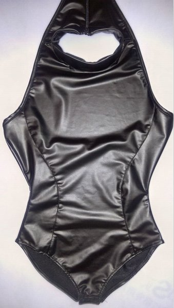 5849e4245ee COSPLAY Latex Maid High Cut Bodysuit High Neck Halter Body Wear One Piece  Swimwear Body Suit