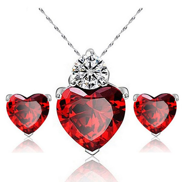 top popular JOYEN Brand Zircon Crystal Jewelry Sets Fashion Heart Pendants Necklaces Stud Earrings White Gold Plated Ruby Jewelry Sets For Women 2019