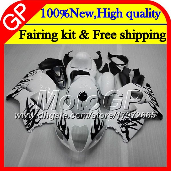 Body For SUZUKI Hayabusa GSXR1300 96 07 1996 1997 1998 41GP38 GSXR 1300 GSXR-1300 GSX R1300 1999 2000 2001 Motorcycle Fairing black flame