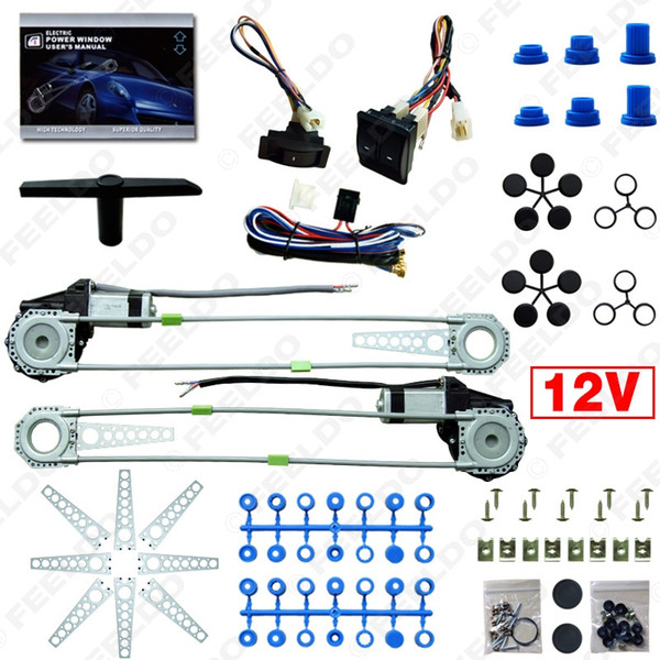 top popular LEEWA Universal Front 2-Doors Car Auto Electric Power Window Kits with Set Switches and Harness #905 2021