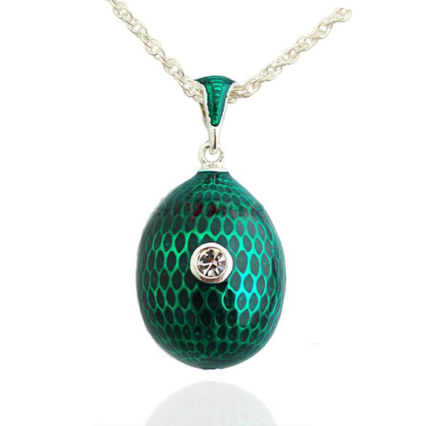 pure color enamel egg shape pendant big crystal paved necklace Faberge Egg Pendant for Easter day