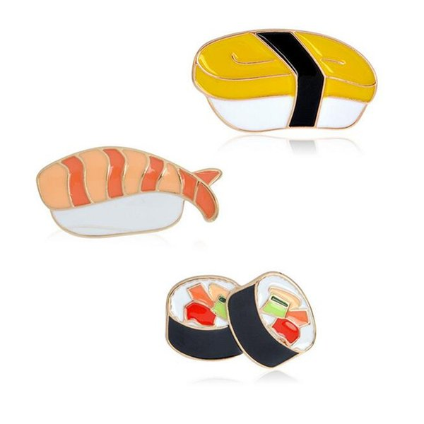 3pcs/set Sweet Enamel Cartoon Foods Sushi Bento Brooches Women Fashion Jewelry Wedding Banquet Scarf Gifs Brooch Pin DH385