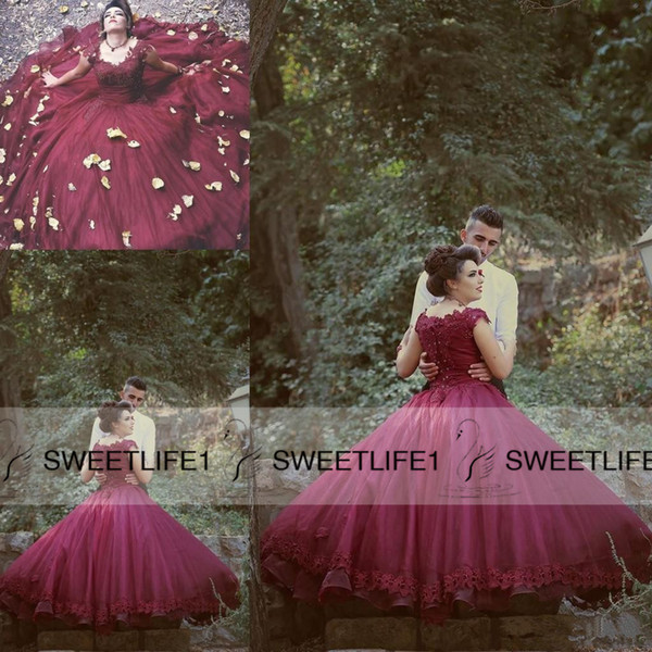 Gothic Elegant 2019 Wedding Dresses Wine Red Ball Gown Tulle Lace Beading Cap Sleeves Vintage Bridal Gowns Floor Length Beautiful