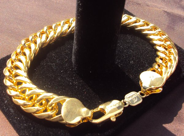 Massive 14k Gold Heavy Thick Men Curb Link Chain Bracelet Double 23 cm 100% real gold, not solid not money.
