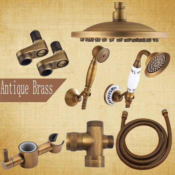 "Antique Brass Bathroom Shower Faucet Accessory 8"" Rain Shower Head/Hand Shower/150cm Hose/Angle Valve/Bracket"