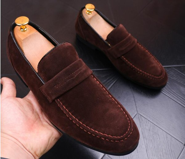 Promotion New spring Men Velvet Loafers Party wedding Shoes Europe Style red/black/green Velvet Slippers Driving moccasins AXX562