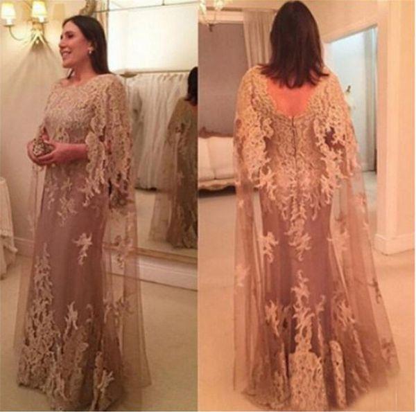 Yüksek Boyun Şampanya Dantel Artı Boyutu Anne Gelin Elbise Kelebek Kollu Kat Uzunluk Uzun Parti Elbise