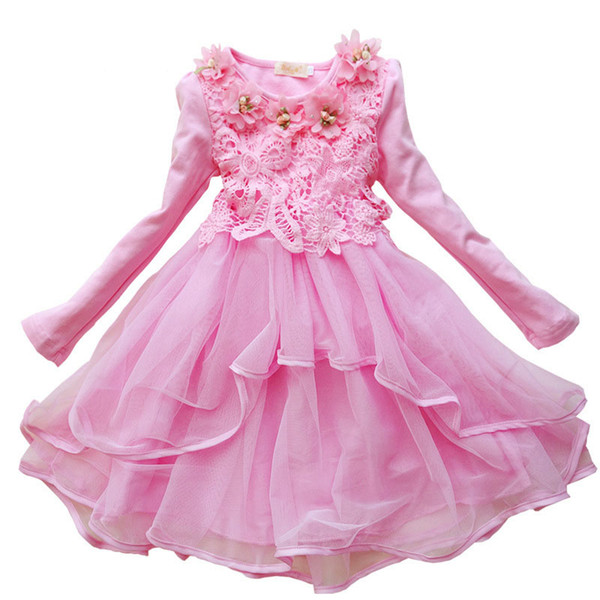 3-12 Years Old Girls Clothes New Fashion 2016 Long Sleeved Lace Dress Girl Flowers Children Princess Party Dresses 5 Colors