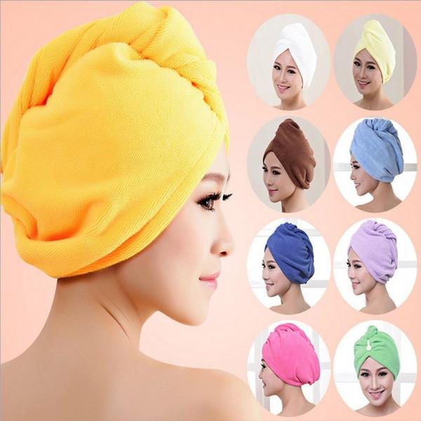 Lady Türban mikrofiber kumaş kalınlaşma kuru saç şapka süper emici çabuk kuruyan saç Duş başlığı Banyo havlusu