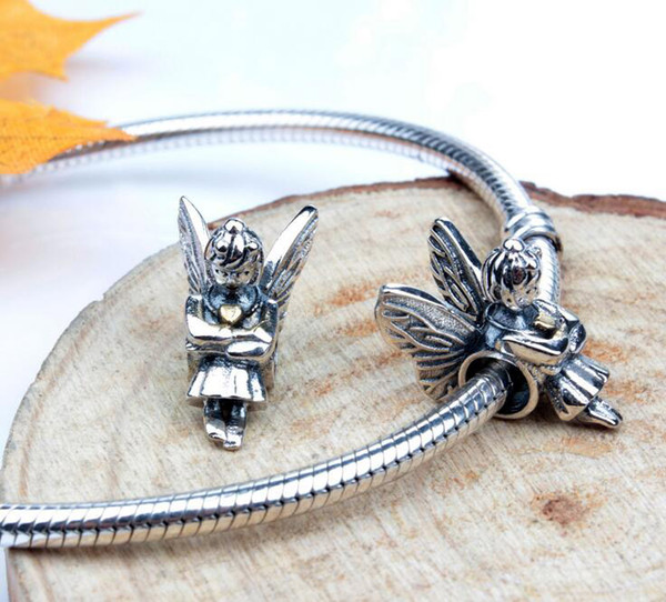 Silver Color Angel girl Hole Beads Stone beads Floral Flower 925 sterling silver charms fit European Bracelets 2016 Charms
