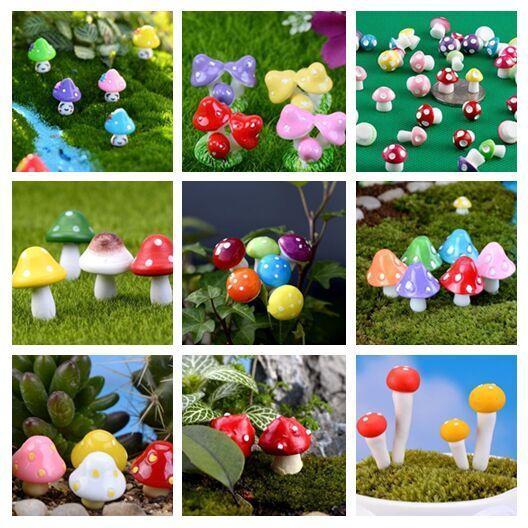 Miniaturas de jardín de hadas artificiales de mini hongos coloridos decoración de terrario de musgo de gnomo artesanías de plástico decoración de hogar bonsai para bricolaje Zakka 100 piezas