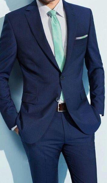 Hot -- New Design Navy Blue Groom Tuxedos Slim Fit Bridegroom Wedding Dress Prom Suit Boyfriend Blazer(Jacket+Pants