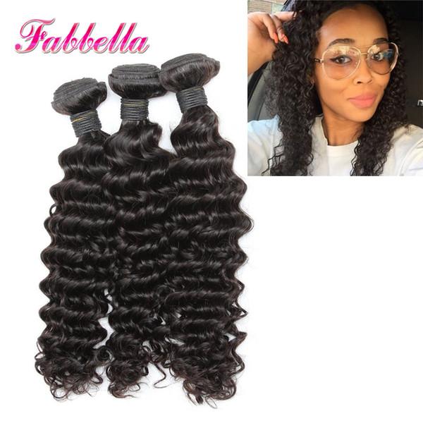 50% de descuento en cabello y belleza Extensiones rizadas de cabello humano brasileño 9A Calidad de rejilla Fabbella Hair 3 PCS LOT Envío de gota