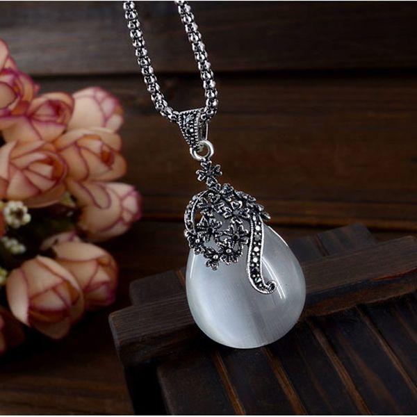 Opal Pendant Necklace Silver Jewelry Water Drop Cat's Eye Necklace Women Wedding Pendant Bohemian Crystal Jewelry