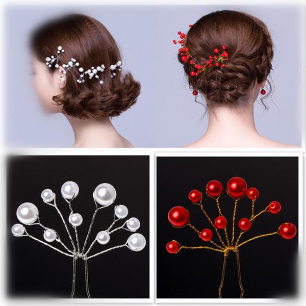 Mode Charm Party Hochzeit Bridals U Form Haarspangen Weiß Nachgeahmte Perle Haarnadeln Haarnadeln Haarspange