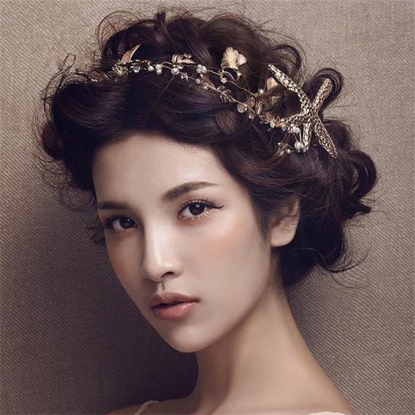 Vintage Wedding Headpiece Starfish Crown Tiara Headband Bridal Crystal Rhinestone Hair Accessories Women Beach Festival Headdress Jewelry