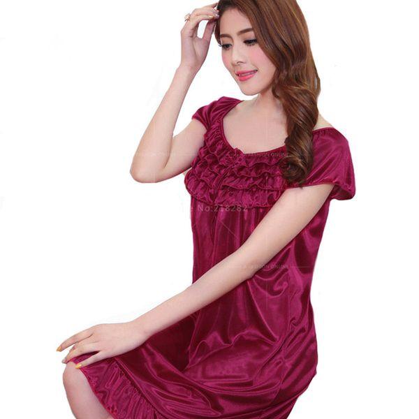 Wholesale- S-2XL New Sexy Robes Bathrobe For Women Silk Satin Nightgown Nightwear High-Grade Night Dress Nightdress Night Gown