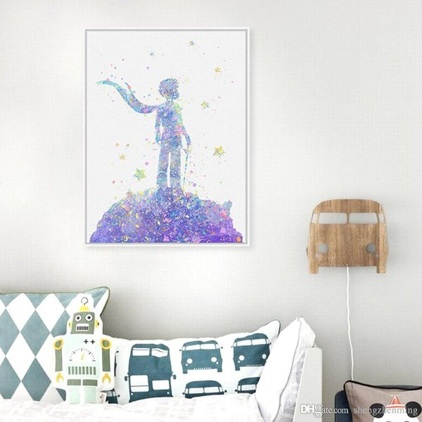 Original Watercolor Le Petit Prince Kids Bedroom Modern Abstract Wall Art Pop Movie Poster Prints Canvas Paintings Love Gifts