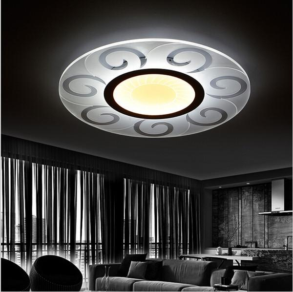 Süper-ince Modern Led Tavan Işıkları Yuvarlak Güneş Tavan Oturma Odası Yatak Odası Akrilik Aydınlatma Armatürü için Avizeler