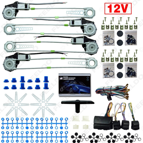 best selling FEELDO DC12V Car Auto Universal 4 Doors Electronice Power Window kits With 8pcs Set Swithces and Harness #2845