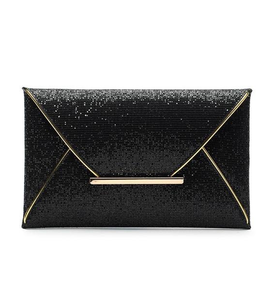 Womens Sequins Envelope Bag Bolso del embrague del bolso de fiesta del partido de noche Bolsos negros del mensajero del monedero de lujo Bolso de embrague 3 colores regalo