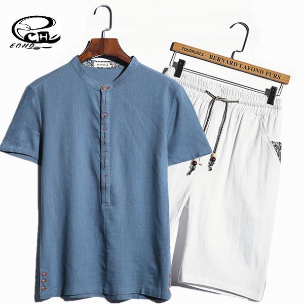 Wholesale-The New Hedging Linen Shirts Men Chinese Style Short-sleeved Shirt Suit Solid Camisa Manga Corta Hombre Cotton Mens Shorts Sets