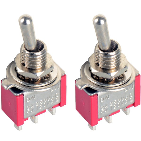 top popular 2x 3-Pin Mini Toggle Switch SPDT On-On MTS-102 Miniature Toggle Switch B00275 2021