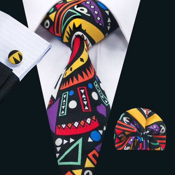 Classic Ties for Men Muti Color Cotton Neckties Tie Sets Tie Hanky Cufflinks Sets Formal Business Wedding Party N-1347