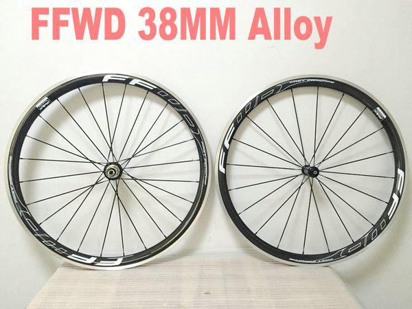 FFWD f4r 38mm Carbon Aluminum Wheels Alloy Brake Surface Clincher Wheels+Hubs+Spokes+Nipples+Skewers Road Bike Wheelset R13 bubs wheels