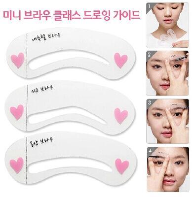 3pcs / set Set de plantilla de cejas Kit de plantilla de preparación Kit de maquillaje DIY Herramientas de belleza