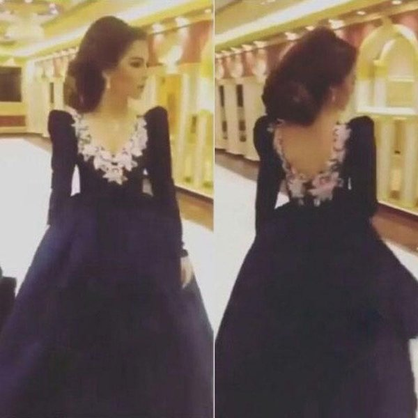 Suudi Arabistan 2016 Lacivert Gelinlik Modelleri Uzun Kabarık Kollu V Yaka Backless 3D çiçekler Parti Abiye giyim Düğün Konuk Elbise