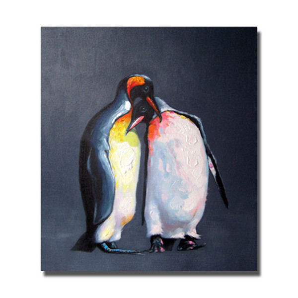 Free Shipping Penguin Oil Painting Hand made Canvas Painting Living Room Wall Decor High Quality Animal Wall Pictures No Framed