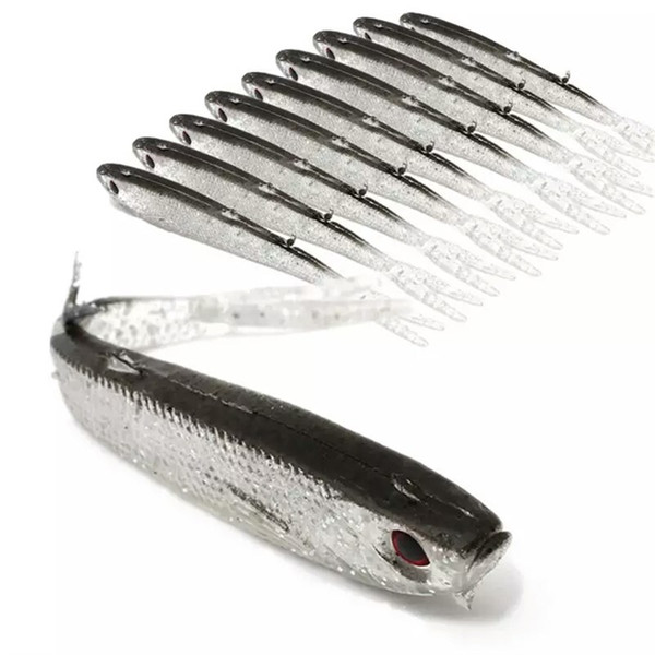 Top Sale 20PCS Artificial Fishing Lure 10cm Lifelike Loach Fishing Baits 4g Soft Plastic Silicone Lures or Swimbait for Saltwater