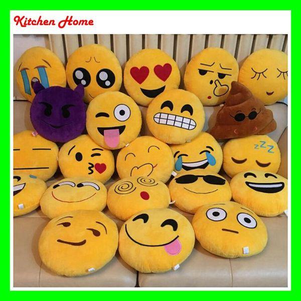 Acheter 20 Dessins 32cm Doux Emoji Oreillers Dessin Animé Mignon Rond Jaune Qq Emoji Smiley Ou Coussin Forme Coussin Coussins Rembourrés Drôles De
