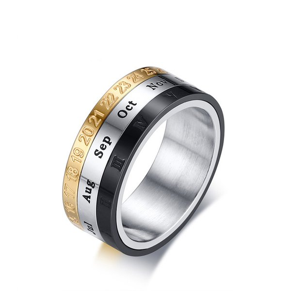 Fashion Mens Ring With Month Day Date Unique Male Party Daily Jewelry Spinner Stainless Steel Rings for Men US Size 7-12