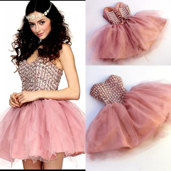 best selling 2017 Sweetheart Pink Short Homecoming Dresses Crystal Beaded Mini Length Cheap Prom Gowns Cocktail Dress Back Lace Up Cheap Party Dress