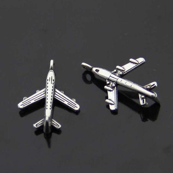 top popular 400pcs Lot DIY Retro Jewelry Accessories Antique Tibetan Silver Mini Aircraft Plane Charm Pendants 22x14mm 2508# 2019