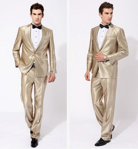 New Arrival Groom Tuxedos Peak Lapel Best man Suit Shiny Beige Groomsman/Bridegroom Wedding/Prom Suits (Jacket+Pants+Tie) for Wedding
