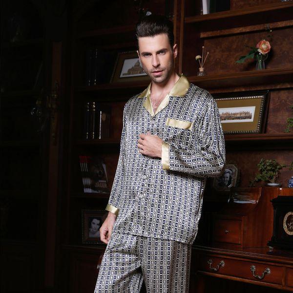 8b41ea8551 Wholesale-Wholesales Pure Silk Satin Sleepwear Sale Long-Sleeve Men Pyjamas  Pajama Sets Pants