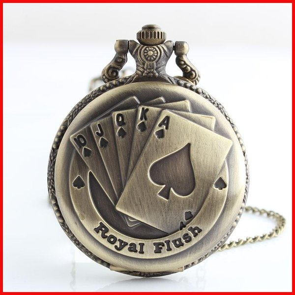 Good lucky poker sequence Royal Fulsh Pocket Watches Bronze locket pendant necklaces Fob quartz Watch men women best friend gift 230167