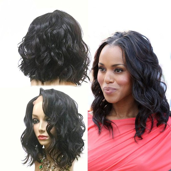 Short Full Lace Human Hair Wigs For Black Women Brazilian Virgin Hair Short Full Lace Wigs Wet Wavy Side Part Lace Front Wig