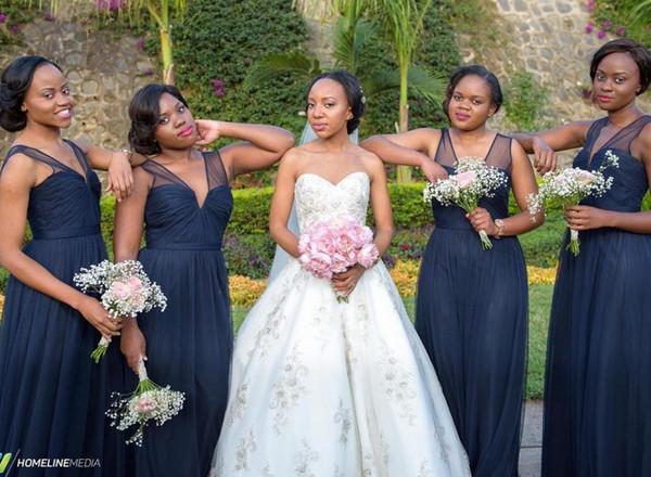 Nigerian african wedding long bridesmaid dresses navy blue tulle nigerian african wedding long bridesmaid dresses navy blue tulle backless illusion v neck plus size junglespirit Choice Image
