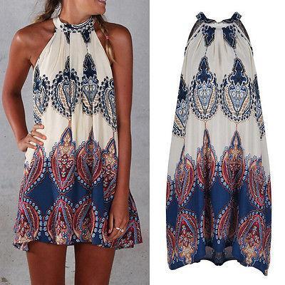wholesale-2016 women summer beach dresses holiday boho halterneck chiffon sundress