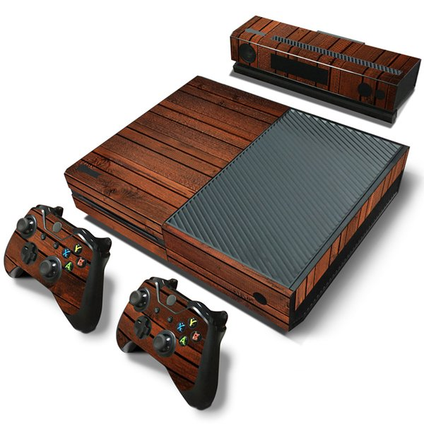 50PCS Whoesale Antiqued Wood Grain Skin Sticker for the Xbox One Console With Two Wireless Controller Decals