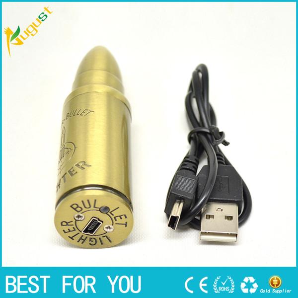 Encendedores de cigarrillos electrónicos Encendedores USB recargables Sin llama Encendedor a prueba de viento Encendedor en forma de bala Antorcha encendedor encendedor