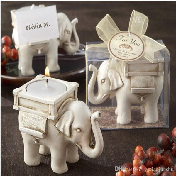 Newest Lucky Elephant Antique-Ivory Candle and Card Holder Wedding Favors and Baby Gifts free shipping 10pcs/lot