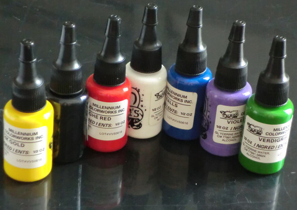 Venta caliente Tintas de Tatuaje Suministro 15 ML / Botella 7 Colores Pigmento de Tinta de Tatuaje Sets 0.5OZ Pigmento de Tinta de Tatuaje