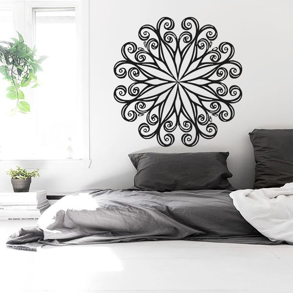Compre Tatuajes De Pared Mandala Indian Yoga Oum Om Sign Sticker Calcomanía De Vinilo Dormitorio Decoración Del Hogar Impermeable Wallpaper Mural D193