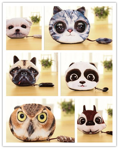 500pcs 3D Printer Cat face Cat dog with tail Coin Purse Bag Wallet Girls Clutch Purses Change Purse cartoon handbag D642